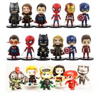 modelos de batman al por mayor-6 unids / lote the Avengers 4 Super Hero Q Versión Batman Iron man Thor Superman Spiderman PVC Figura de Acción de Colección Modelo Juguetes 10-12cm