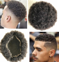 African Americans Afro Kinky Curl Brazilian Remy Human Hair Replacement Mens Toupee Full Lace Unit Color #1b for Black Men Fast Express Delivery