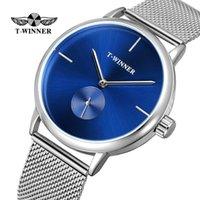 mode gürtel displays großhandel-2019 Mode Blau Display Silber Mesh Gürtel Transparent Dial Herren Mechanische Armbanduhren Top-marke Wasserdichte Luxusuhr