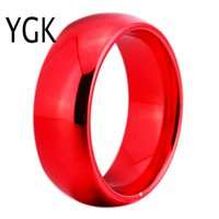 Wholesale tungsten carbide wedding ring sets resale online - Ygk Jewelry mm Width Red Color Domed Tungsten Carbide Wedding Ring Y19062004