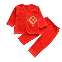 Wholesale chinese baby boy clothing resale online - WEIXINBUY New Year Winter Traditional Chinese Costume for Kids Newborn Baby Boy Girls Suit Baby Print Top Pants Clothing Set