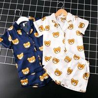 bebek ayı kıyafetleri toptan satış-2019 Yeni Bahar Bebek Erkek Kız Elbise 2 adet Setleri Tatlı Kısa Kollu Ayı Kostüm Saten Suit Bebek Kız Giysileri Çocuk giyim