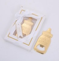 Wholesale giveaways for baby shower resale online - DHL Gold Feeding Bottle Opener Baby Shower Favor for Guest Wedding Favors Baby Shower Giveaways Party Favors Gift Supplies nt