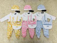macacões infantis venda por atacado-0-18 M bebê menina menino impressão macacão europeu 3 pçs / set Romper chapéu de bebê + macacão Romper manga comprida bodysuits infantis