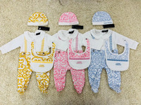 Wholesale summer infant set resale online - 0 M Baby Girl boy European printing jumpsuit set Romper Baby Hat jumpsuit Long Sleeve Romper Infant bodysuits