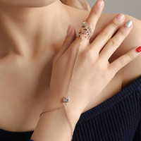 Wholesale slave hand chain for sale - Group buy 10pcs Fashion Multi Bangle Slave Chain Link Bracelet V Rhinestone Leaf Finger Rings Hand Harness Bracelets Gold Silver Boho Jewelry