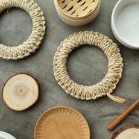 placares ecológicos venda por atacado-Palha Tecido Titular Pote Criativo Oco Resistência Ao Calor Esteiras Eco Rodada Natural Copo Coasters Placemats Talheres