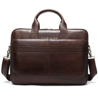 Wholesale business briefcases for men for sale - Group buy Men s Briefcase Bag Men s Genuine Leather Laptop Bag Business Tote For Document Office Portable Laptop Shoulder For Man