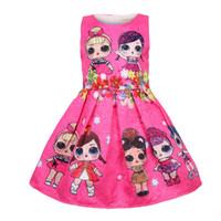 menina vestidos de verão crianças princesa venda por atacado-Vestidos de bebê 3-9Y verão bonito elegante vestido de festa de crianças trajes de natal crianças roupas princesa Lol meninas vestido