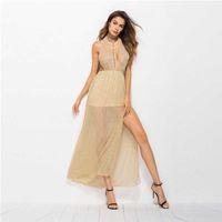 askılı elbisesi toptan satış-Kadın V Yaka Elbise Aç Geri Uzun Boylu Bel Asılı Boyun Bölünmüş Dantel Polyester Ekleme Elbise Seksi Sokak 57