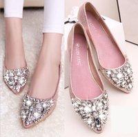 ingrosso scarpe da sposa in cristallo piatto-Vendita calda- casual alta moda donna scarpe da sposa progettista scarpe moda donna in pelle piatta di cristallo tacco basso wed donna scarpa