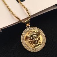 18 k altın zincir stilleri toptan satış-Hip Hop Kolye Kolye Erkek Punk Stil 18 K Alaşım Altın Gümüş Kaplama Başkanı Charm Kolye Yüksek Kalite Küba Zinciri