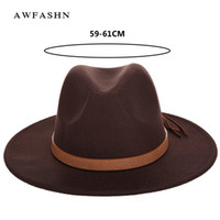 Wholesale vintage male hats resale online - New Fashion Solid Color Autumn And Winter Men s Fedora Hat Wool Leather Male Vintage Classical Sombrero Hairy Headscarf Bone Y19052004