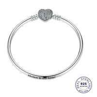 Wholesale beads bohemian bangle resale online - Authentic Sterling Silver Heart Charms Bracelet Fit Pandora European Zircon Beads Jewelry Bangle Real silver Bracelet for Women