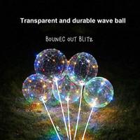 batería de globo led al por mayor-Luz caliente del globo del LED con la batería romántica Bobo Ball Wave 4 colores para el banquete de boda X-ms Decoración de Hollween