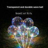 dalga balonları toptan satış-Pil ile sıcak LED Balon Işık Romantik Bobo Topu Dalga Düğün Parti X-ms Hollween Dekorasyon Için 4 Renkler