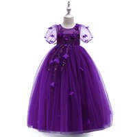 königliche lila blumenmädchenkleider großhandel-Hübsches Königsblau-Rosa-Grün-Lila-Mädchen-Festzug kleidet Blumen-Mädchen-Kleider Prinzessin Party Dresses Child Rock Custom Made 2-14