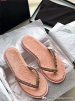 Wholesale knitting shoes slippers for sale - Group buy Spring summer new jean chain link flip flops ladies chic metallic chain knitted flip toe flat sandals slippers With original shoe box