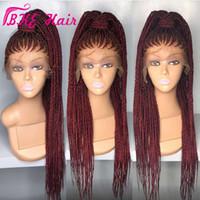 черный качественный парик оптовых-Высокое качество длинная коробка коса парик плетение синтетические кружева перед парик черный / бордовый красный цвет косички косички парики для чернокожих женщин