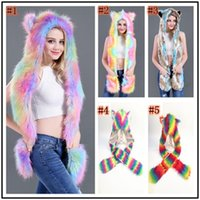 Wholesale rainbow warmers resale online - Women Colorful Faux Fur Hat Up Hood Animal Rainbow Hat Wolf Plush Warm Animal Cap With Scarf Gloves Party Scarf Mittens ZZA898