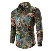 camisas de vestuário casual venda por atacado-Flores Florais dos homens novos Camisas de Impressão Dos Homens de Negócios Casuais Camisa Dos Homens Camisas de Vestido de Manga Comprida Camisa de Luxo