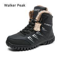 zapatos de moda masculina al por mayor-Botas para hombre de invierno con piel 2019 Botas para la nieve del tobillo caliente para los hombres Zapatos de cuero genuinos Calzado masculino Moda caucho Walker Peak