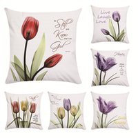 Wholesale flower cushions online - Transparent Tulips Pattern Pillowcase Flower Pillow Set Love Living Room Cushion Cover X45 Square Shape Multiple Styles jw C1