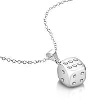 collier de chaîne d'argent de nickel achat en gros de-Collier en chaîne en argent sterling 925 massif véritable Lucky 6mm Dice Charm Small Size avec pendentif Rolo 18