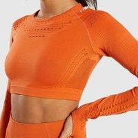 camisas sin costura mujer al por mayor-Zhangyunuo Seamless Crop Mangas largas Gym Running Fitness Yoga Crop Top Compression Workout Shirt Ropa deportiva para mujeres Gym
