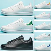 zebra şerit düz ayakkabılar toptan satış-2019 Stan Marka erkekler kadınlar Fuşya Donanma Zebra klasik şerit Yeşil Altın Beyaz tasarımcı ayakkabı smith sneakers Rahat ayakkabılar deri spor daireler