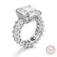 Wholesale square cut engagement rings for sale - Group buy Luxury SILVER PAVE Radiant cut FULL SQUARE Simulated Diamond CZ ETERNITY BAND ENGAGEMENT WEDDING Stone Ring Size