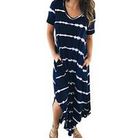 6dfa147312d Boho Women Maxi Long Dress Split stampato manica corta O-Collo Sundress  Tasca allentata Abiti casual Femme Robe Plus Size XXL GV129