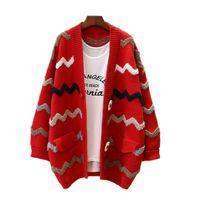 baumwolle lange offene strickjacken großhandel-Lange Gestreifte Strickjacke Frauen Pullover Mantel Strickwaren Mode Dame Open Stitch Langarm Baumwolle Oversize Pullover