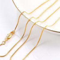 gelbgoldkette 22 großhandel-(264N) 16/18/20/22/24/26/28/30 Zoll Winzige Schlangenkette Halsketten (1mm) Für HERRENFRAUEN 18K Gelbgold plattiert Hot Buy Blei und Nickel frei