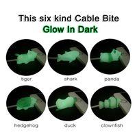 cable de carga luminiscente al por mayor-Animal lindo Glow Cable Protector Cable Bite Luminous Cable de carga protectora para iPhone Lightning Cover actualización MMA1470 200 unids