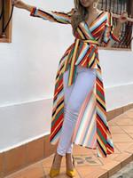 asymmetrisches saumhemd großhandel-Damenmode Elegante Büroarbeitskleidung Asymmetrische Lange Bluse Beiläufiges weibliches Oberteil Gestreift Gebundenes Hemd mit tiefem Saum