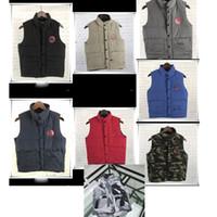 ingrosso classico q-Uomini Donne Canada Classico Giù Gilet 100% bianco anatra giù Vest Goose addensare maniche giacche calde Gilet ad alta Q antivento Coats C110604