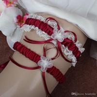 siyah beyaz düğün atıcıları toptan satış-2adet 8 Renkler Seksi Saten Kurdele Bow Gelin Garters Düğün Jartiyer Set İnci Aksesuarları Burgonya Beyaz Kırmızı Pembe Gök Mavisi Siyah Lacivert