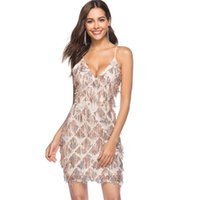 Wholesale pencil prom dresses resale online - Women Sexy Sequin Tassels Dresses Bling Bling Champagne Gold Adjustable Spaghetti Strap V Neck Zipper Club Cocktail Party Prom Mini Dress