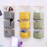 Wholesale wall hanging storage bag organizer resale online - New Creative Water Proof Multi Storey Colorful Print Storage Bag Cotton And Linen Wall Hanging Organizer Bags High Quality bo