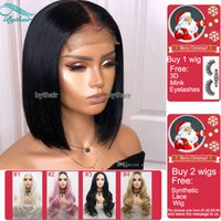 Wholesale indian human hair small wig for sale - Group buy Bythair Short Bob Silky Straight Peruvian Human Hair Full Lace Wigs Baby Hairs Pre Plucked Natural Hairline Lace Front Wig Bleached Knots