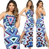 strandstrumpfhosen großhandel-2019 Occident Sexy Sommerkleid Strandkleid Long Beach Kleid engen Rock Printed Fashion Rock rückenfrei Rock billig und fein