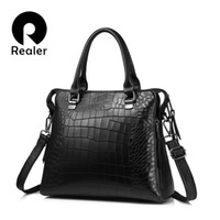 ingrosso valigetta di coccodrillo per le donne-Realer Women Genuine Leather Handbags Fashion Modello coccodrillo Totes Pacchetto serale Borsa a tracolla Messenger Valigetta femminile J190426