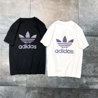 rayas blancas negras camisetas al por mayor-Hot Fashion 2019 T-shirt off Men 100% Cotton Stripe Brand Camisetas de manga corta blancas negras Ropa de hombre Camiseta con estampado de letras Tamaño grande