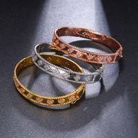 Wholesale brides gold jewelry set resale online - Women s Bangle Superior quality colors Clover pattern Cubic Zirconia Bracelets Bangles Noble elegant style Bride Fashion jewelry