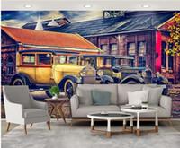 Wholesale classic car wallpaper online - 3d wallpaper custom photo European nostalgic town retro car personality classic car room Home decor d wall murals wallpaper for walls d