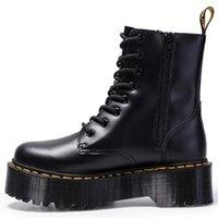 botas de pele de salto baixo venda por atacado-Mulheres Botas de couro genuíno com plataforma plana Shoes Outono Inverno tornozelo pele saltos de couro Botas Mujer