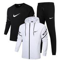 Wholesale sport tracks resale online - Brand New Tracksuit Men Set Letter Sportswear Sweatsuit Male Sweat Track Suit Jacket Hoodie with Pants Mens Sporting Suits