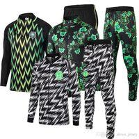 costume national achat en gros de-2018 2019 Coupe du Monde National Nigeria Costume d'entraînement à manches longues Football Football Vêtements de sport Chandal Set Costume de plein air