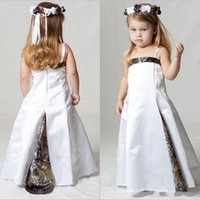 Wholesale flower girl dress strapless white resale online - Country Realtree Camo Flower Girl Dresses for Wedding Party Forest Themed Flower Girl Wear Thin Strap Custom Made Kids Pageant Gowns